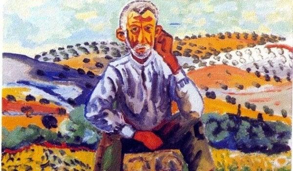 Maleri af mand, der sidder på bakker