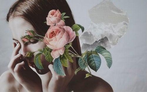 Kvinde med roser ønsker at kontrollere alt
