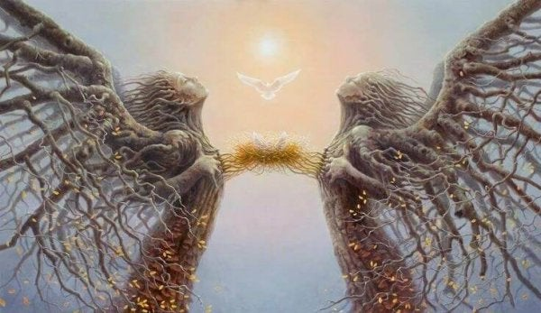 Personer som træer, forbundet af fuglerede, illustrerer spejlteorien