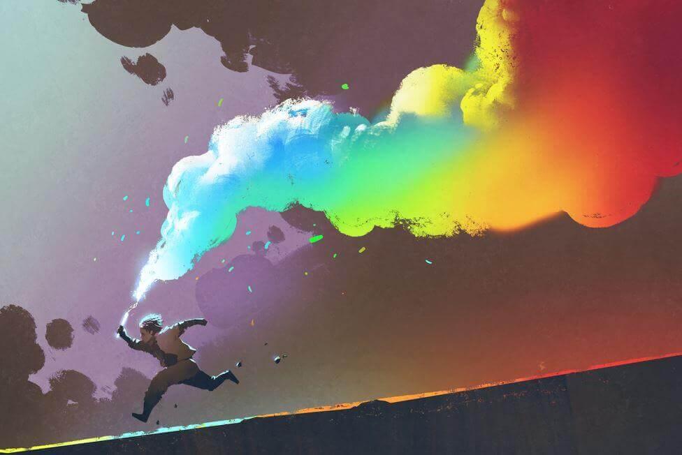 Barn løber med en fakel der udgiver farverig røg. Vi opdrager fremtiden