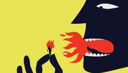 Person, der puster ild på lille menneske, symboliserer en giftig chef