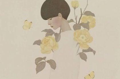 Kvinde blandt gule blomster