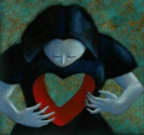 Kvindes hjerte illustrerer indre tomhed