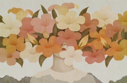 Kvinde, der gemmer sit hoved bag blomster, lider under ensomhed