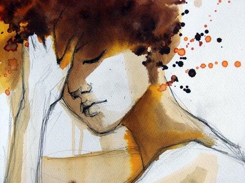 Kvinde med lukkede øjne har irrationelle tanker