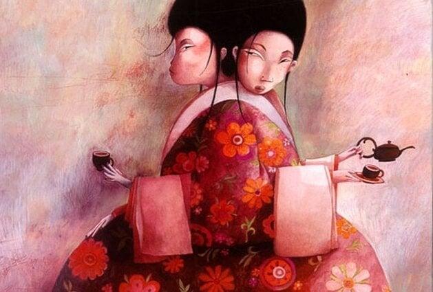 Kinesiske kvinder drikker te