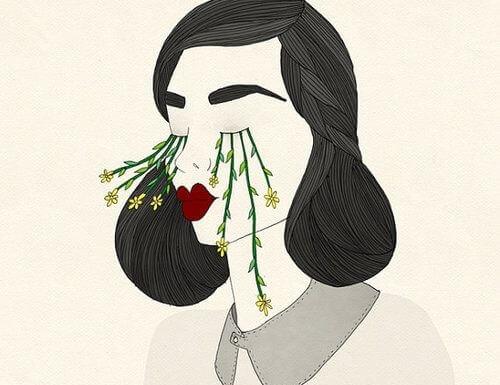 Kvinde med blomster ud af øjne udfører hykleri