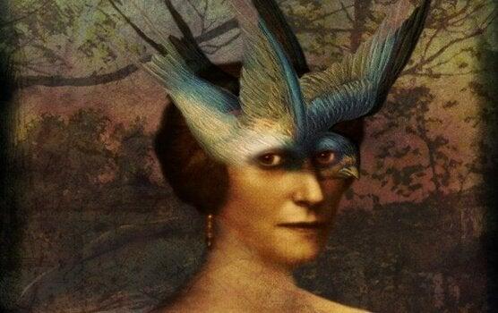 Kvinde med fugl foran øjne