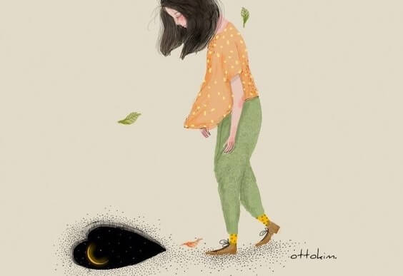Trist kvinde går hen mod hul i jord formet som hjerte