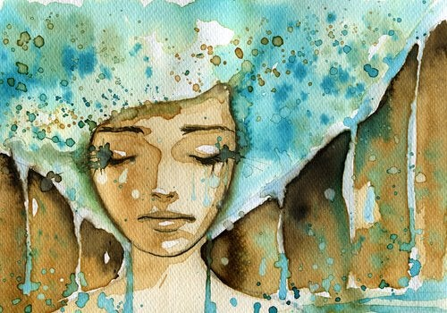 Kvinde med blåt hår græder blå tårer