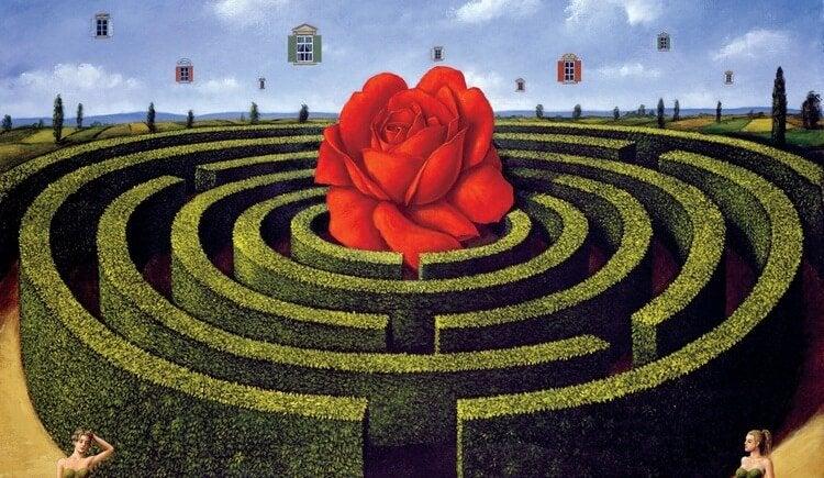 Rose i midten af labyrint symboliserer liv, der er glæden værd