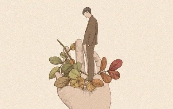 Mand i hånd med planter ønsker ikke at tilpasse sig omgivelserne