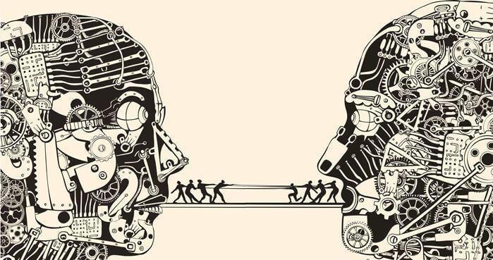 To personer med bro mellem deres munde, hvor små personer går for at undgå uudtalte aftaler