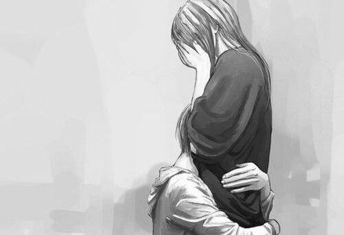 Par græder og krammer, da de ikke er klar til at elske hinanden