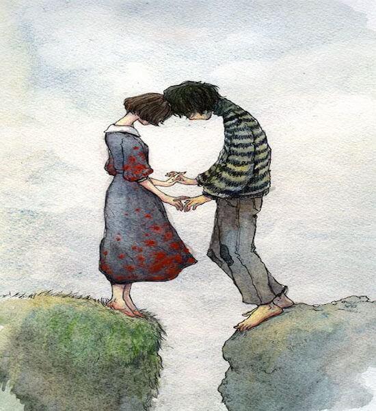 Ægte kærlighed er, når din partner ikke lader dig gå, som med dette par på hver deres sten