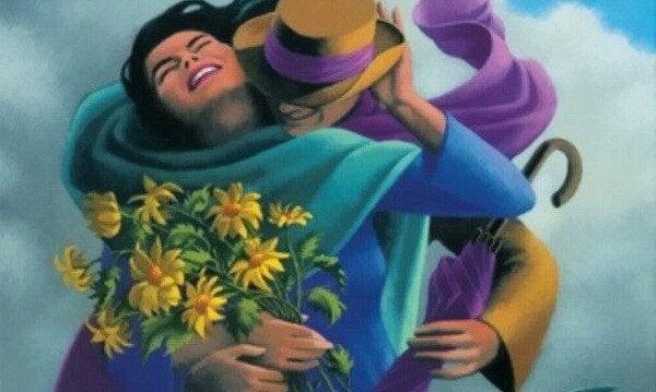 Mand giver kvinde blomster som tegn på smuk kærlighed