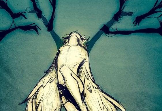 Person med vinger er en modstandsdygtig sjæl