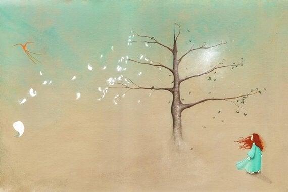 Pige under træ uden blade