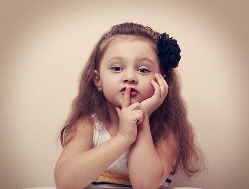 Pige med finger for munden