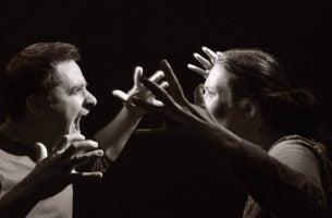 To mennesker råber af hinanden som eksempel på hetero-aggressiv adfærd