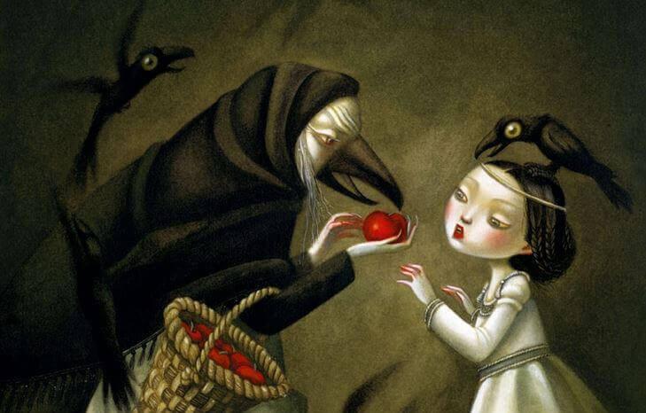 En ørn giver pige et rødt æble