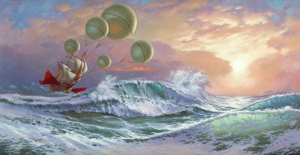 Skib på vildt hav