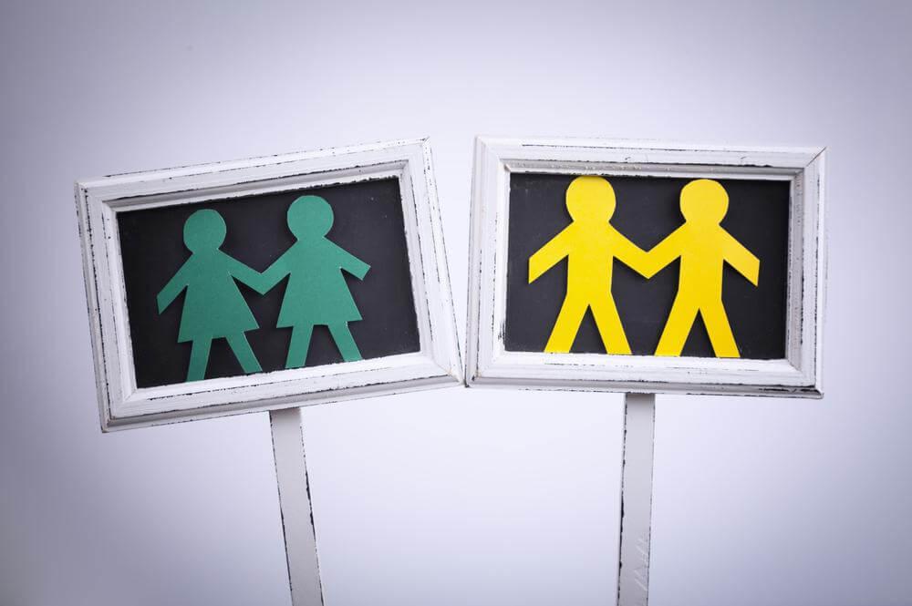 Skilte med personer på i gul og grøn viser, at ingen er mere værd end andre, alle er ens