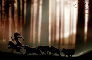 Kvinde i skov løber med ulve