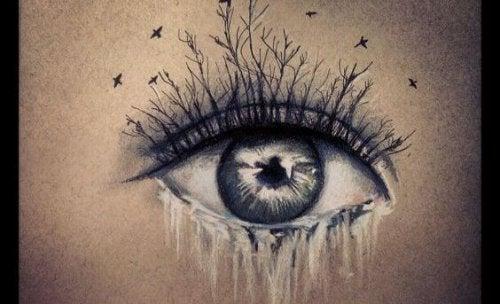 Øje med tårer som vandfald og træer som øjenvipper