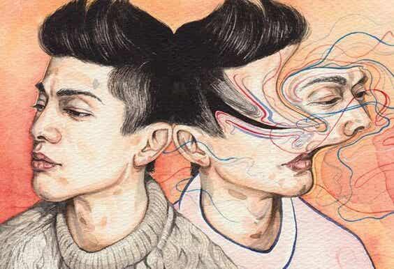 To mænd, hvor dens ene hoved er abstrakt