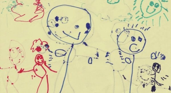 Et barns tegning bruges i familietegningtesten