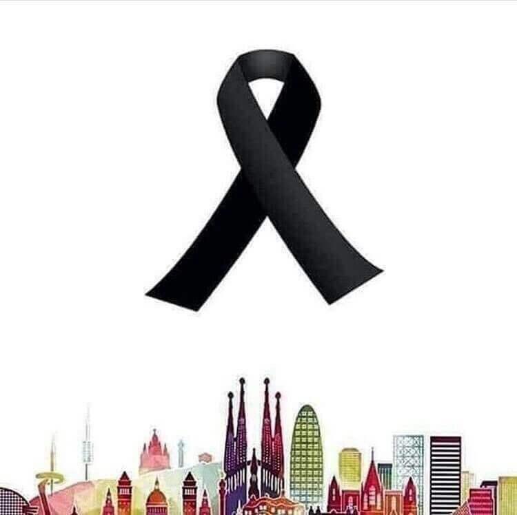 Sort sløjfe symboliserer, at man skal bede for Barcelona, efter de blev offer for terrorisme
