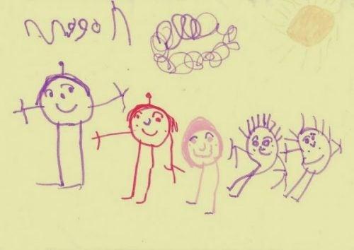 Et barn har tegnet sin familie