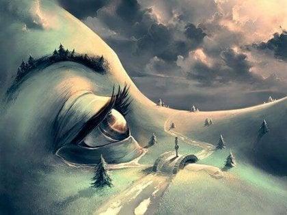 Kvindes ansigt danner landskab