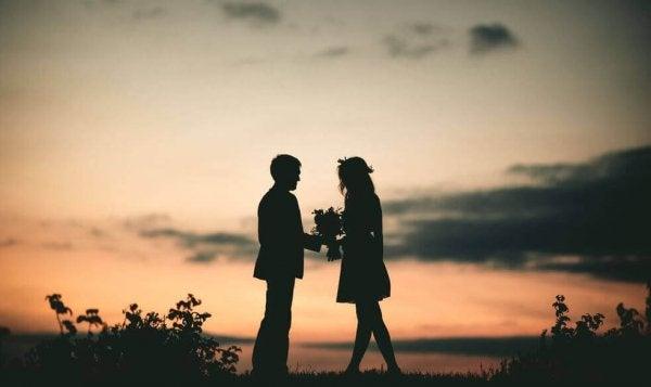 Par foran solnedgang
