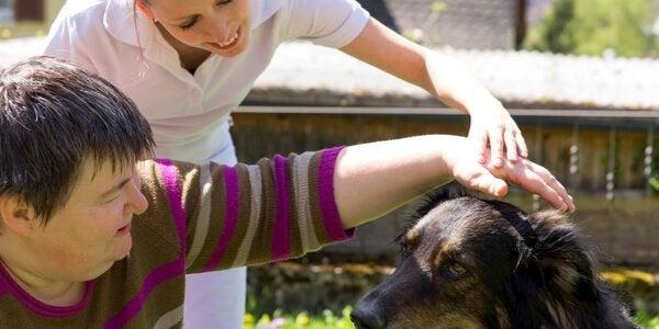 Dyreterapi med hund. Kvinde klapper hund.