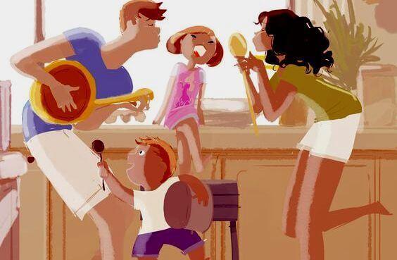 Familie nyder tid sammen