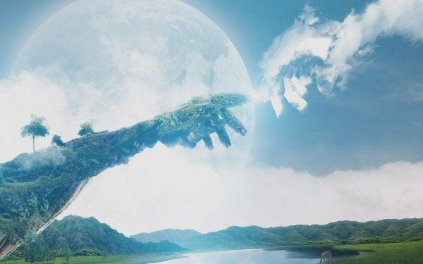 To skyer formet som hænder rækker ud mod hinanden