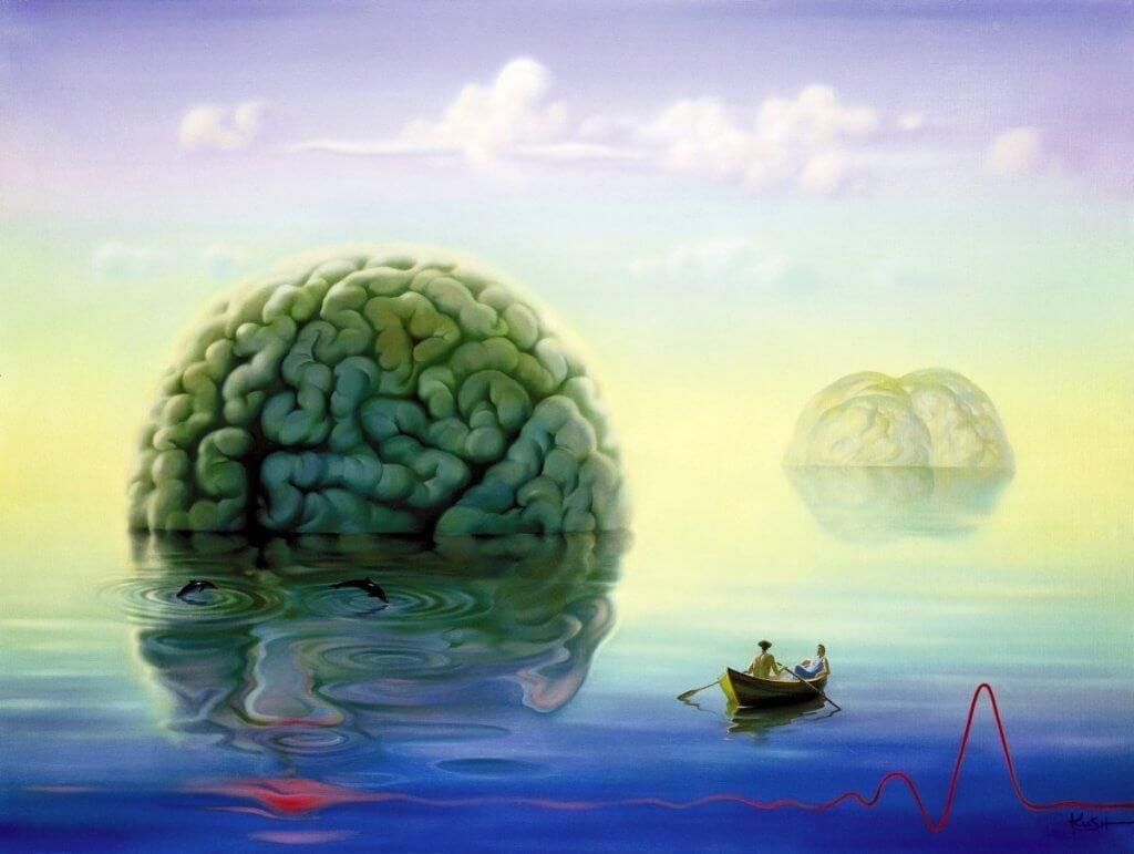 Flydende hjerne på hav