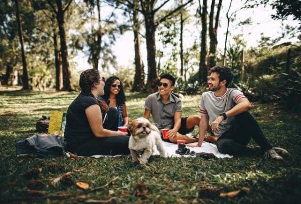 Venner hygger i en park med hund