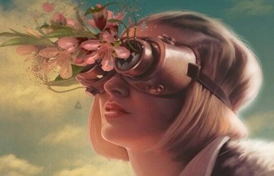 Kvinde med briller med blomster foran
