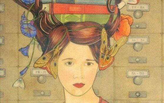 Illustration af følelsesmæssig ræsonnement i form af kvinde med bøger på hoved