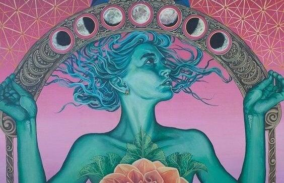 Kvinde med forskellige måner over sig