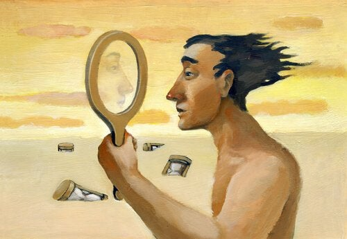 Mand i ørken ser i spejl for at studere hans personlighedstræk