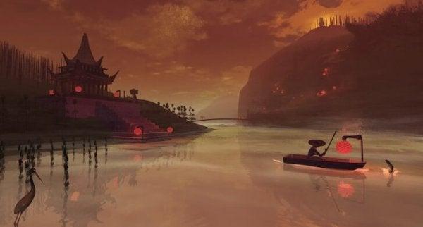 Sø med både foran orange nattehimmel