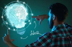 Mand med lysende pærer studerer psykologi i reklamer