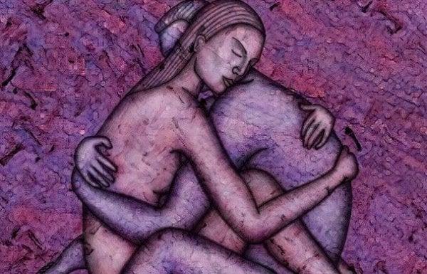 Par omfavner hinanden og nyder ikke-voldelig kommunikation