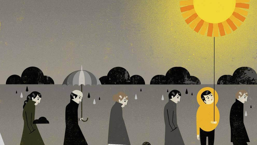 Personer går i regnvejr, mens en optimistisk person går i solvejr