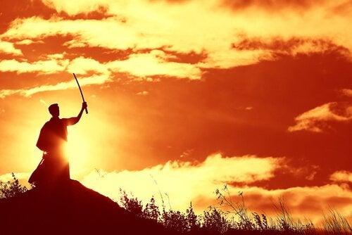 Samurai foran solopgang