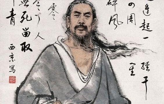 Kinesisk mand med skrift omkring sig